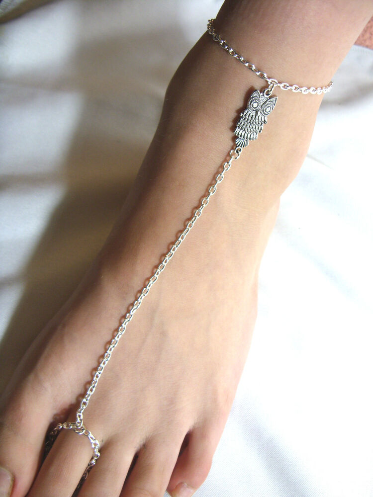 Silver Tone With Owl Charm Slave Chain Anklet Ankle Bracelet Toe Ring EBay