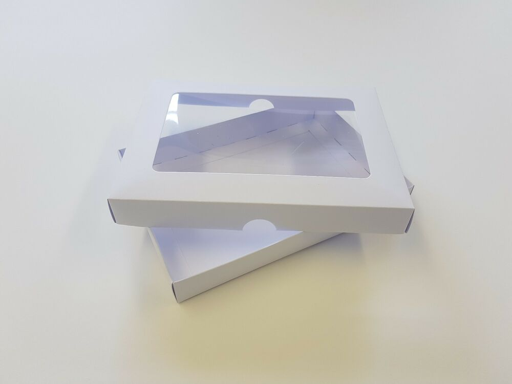 A5 White Greeting Card Boxes With Aperture Lid Gift