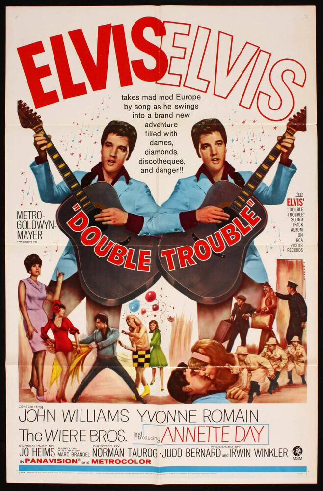DOUBLE TROUBLE 1967 ONE SHEET MOVIE POSTER ELVIS PRESLEY