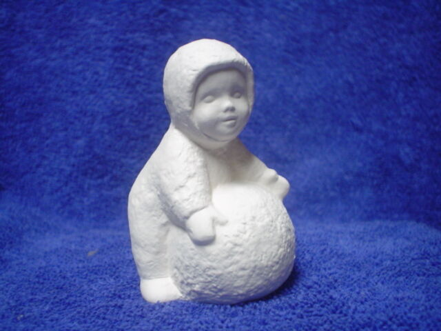 D227 Ceramic Bisque Ornaments Snow Baby With Snowball