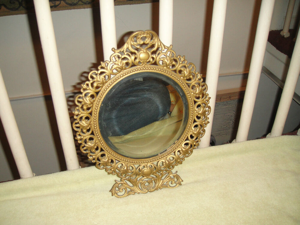 Antique Victorian Style Beveled Glass Wall Mirror-Gilded