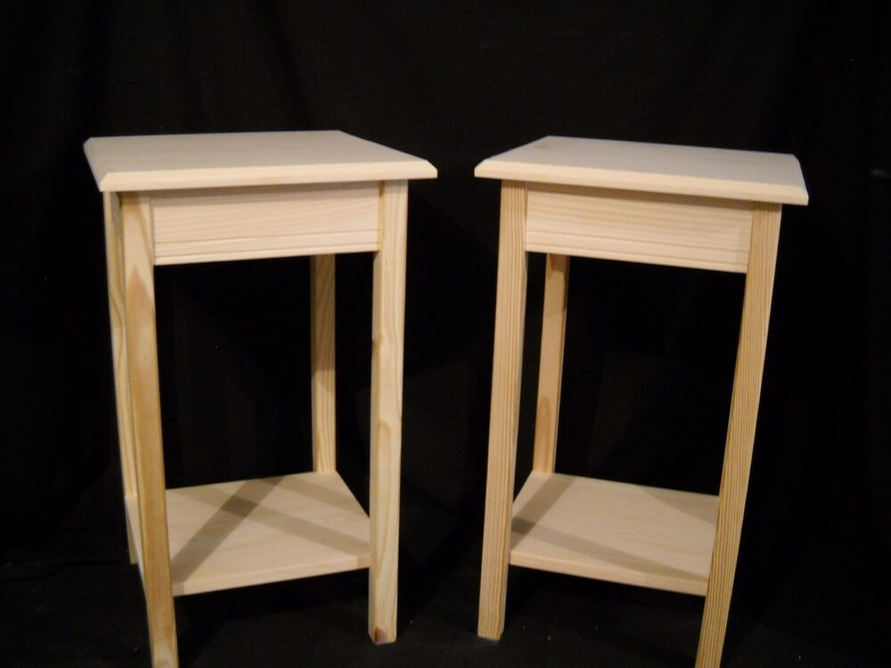 Set Of 2 Unfinished Wooden Dorm Table Night Stand End