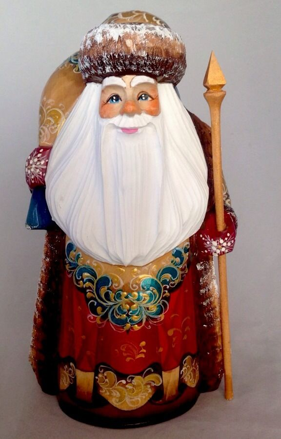 Christmas WOOD Russian Father Frost Santa Claus Hand