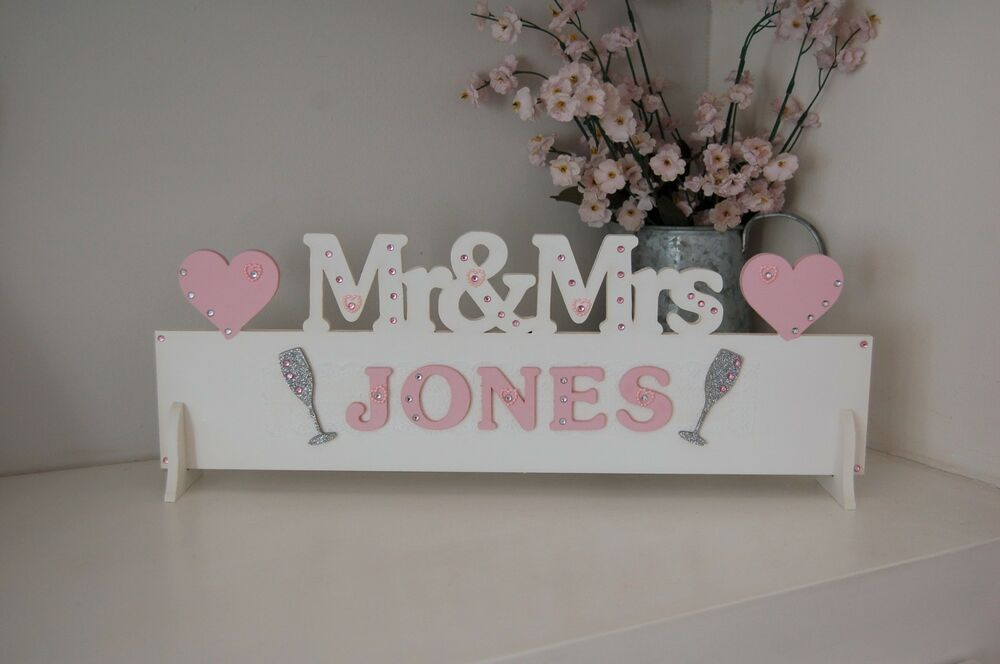 PERSONALISED Mr & Mrs Wedding Table Decoration Sign Pretty