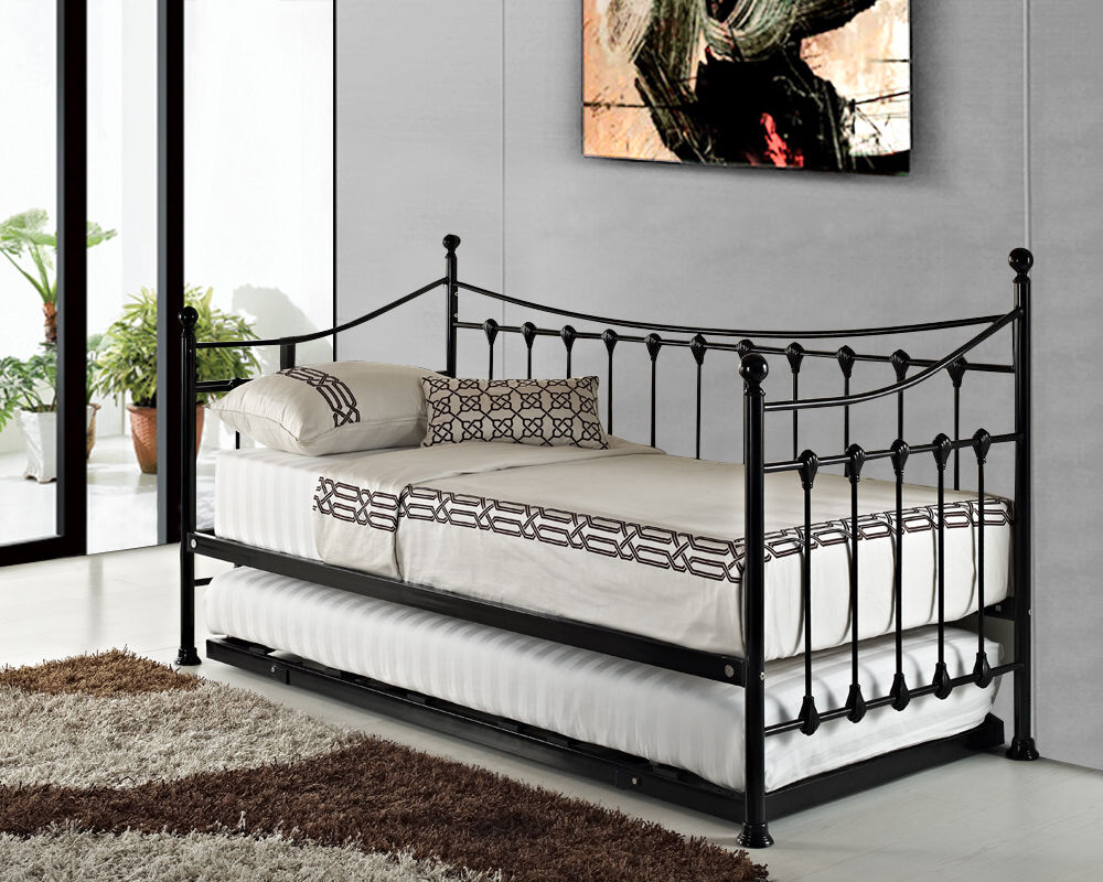 Versailles Black White French Metal Day Bed With Guest Pull Out Trundle Bed EBay