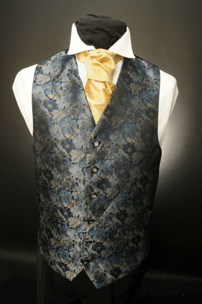 W 548 MENS BLUE BLACK AND SILVER FLORAL WAISTCOAT EBay