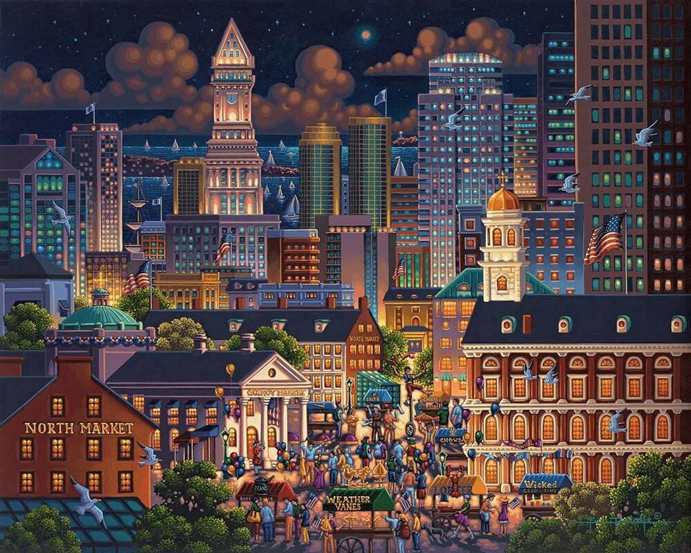 DOWDLE FOLK ART COLLECTORS JIGSAW PUZZLE BOSTON MARKET