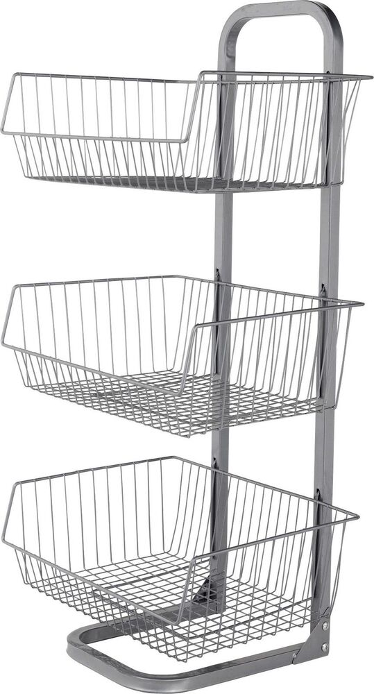 3 Tier Vegetable Stand Metal Fruit Basket Kitchen Food