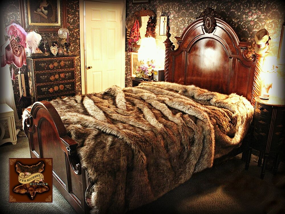 Fur Accents Faux Wolf Coyote Bedspread King Size Ebay