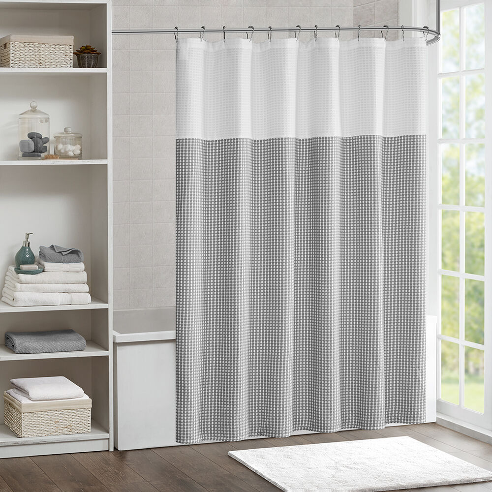 Luxurious Grey Seafoam Jacquard Waffle Texture Shower Curtain 72 New EBay