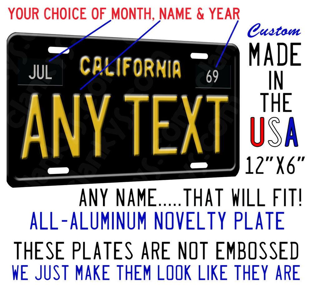 California Personalized Plate License List