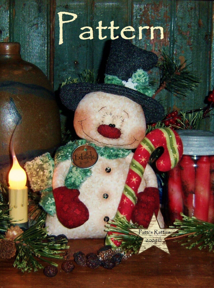 Primitive Pattis Ratties Snowman Christmas Frosty Doll