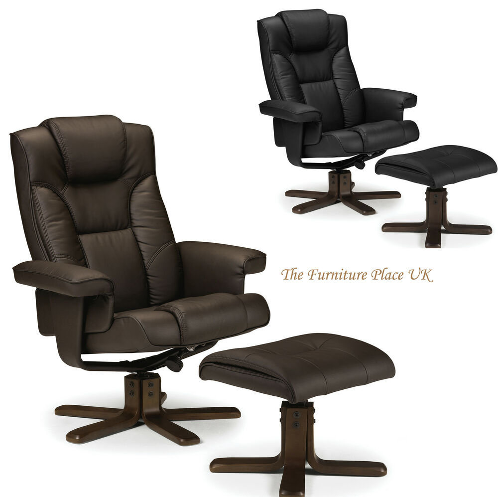 Malmo Recliner And Footstool Swivel Chair In Black Or