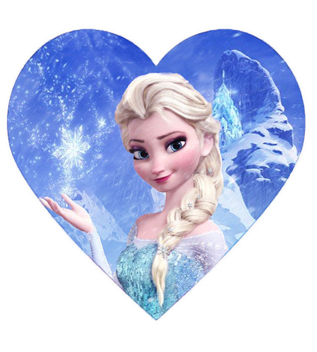 FROZEN DISNEY CAKE TOPPER PARTY RICE PAPER HEART SHAPE DIY