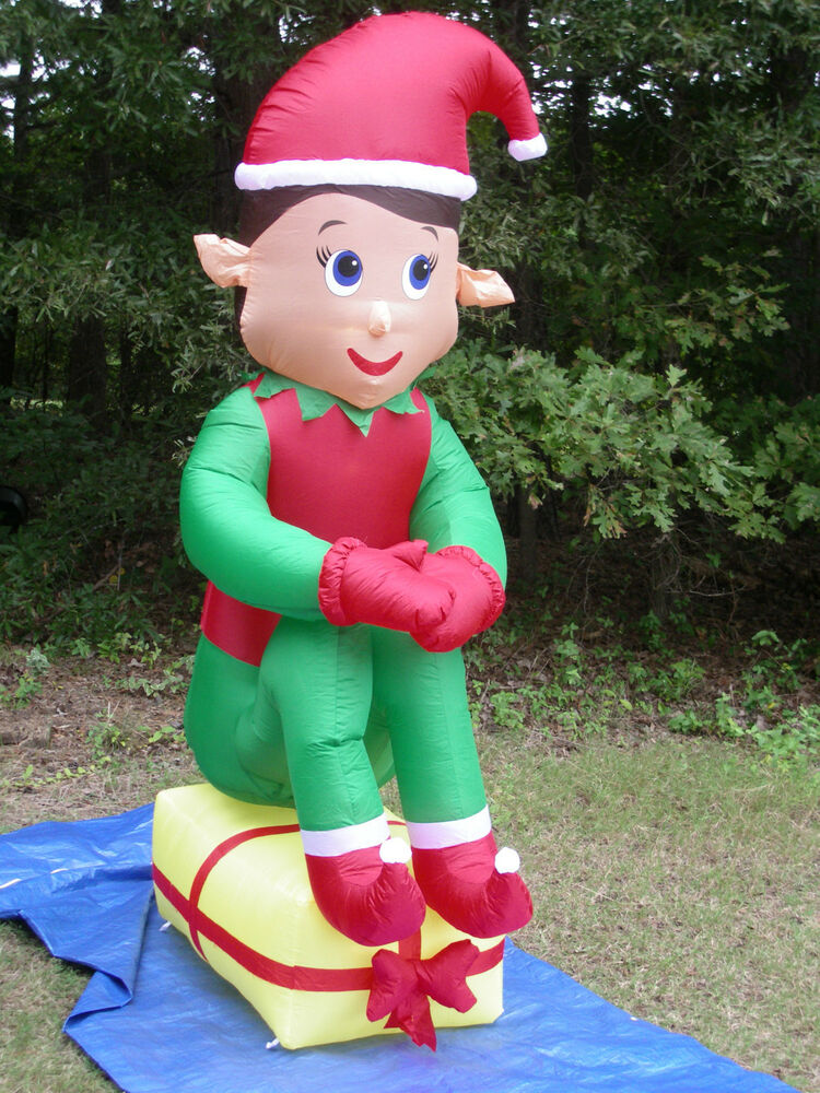 NEW 7 Tall Lighted Giant Elf On Present Christmas