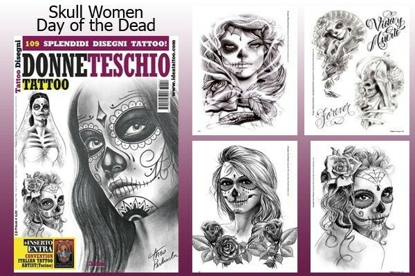 DAY OF THE DEAD SKULL WOMEN Tattoo Flash Design Book 66 ...