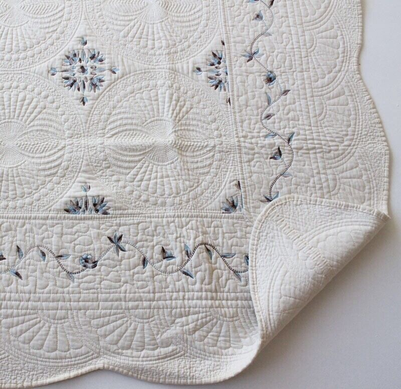 French Country Marcella Throw Quilt Shabby Chic Free Cushion Cover Cream Blue EBay