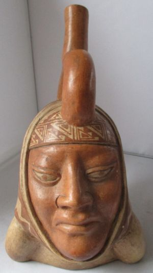 MOCHE CULTURE PERU INDIAN PORTRAIT VESSEL BOTTLE WITH