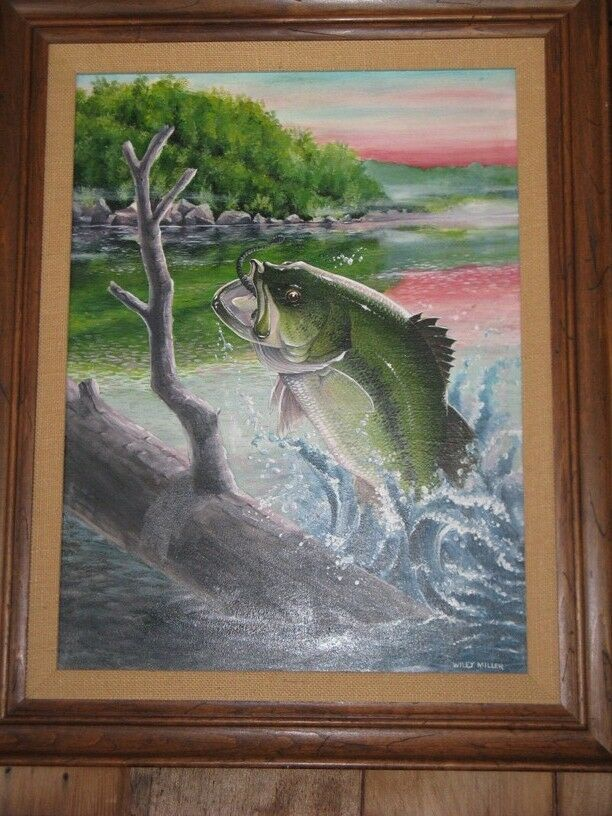 Wiley Miller Fishing Facts Original Oil Painting May 1972 Bass Jumping Over Log EBay