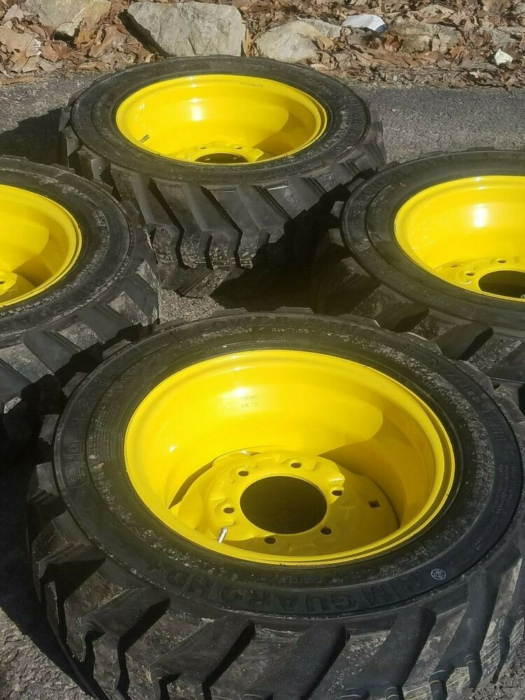4 27x10 50 15 Deestone Skid Steer Tires Wheels Rims 27x10