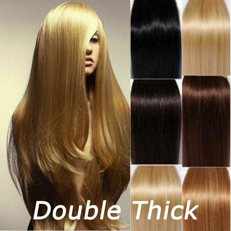 Extra Thick Real Human Hair Extensions Full Head Clip In