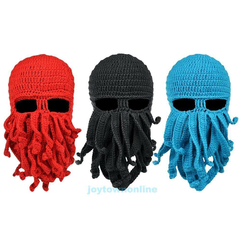 Knitted Cap With Beard Pattern
