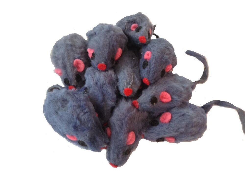 Set Of 10 Gray Cat Mice Toys Furry Mouse Zanies EBay