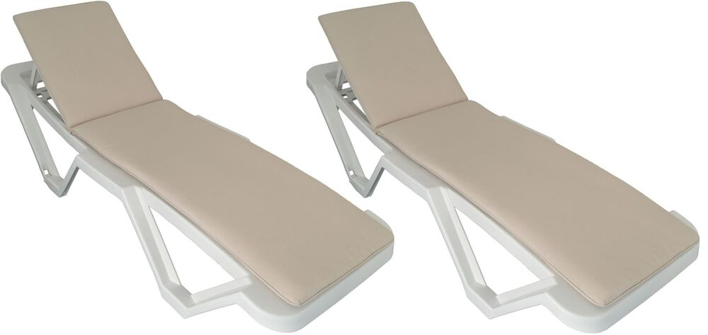 Beige Sun Lounger Cushion Pad Replacement For Sunlounger