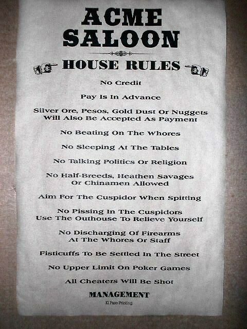 398 OLD WEST SALOON ACME HOUSE RULES VINTAGE AGED BAR ROOM POSTER 11x17 EBay