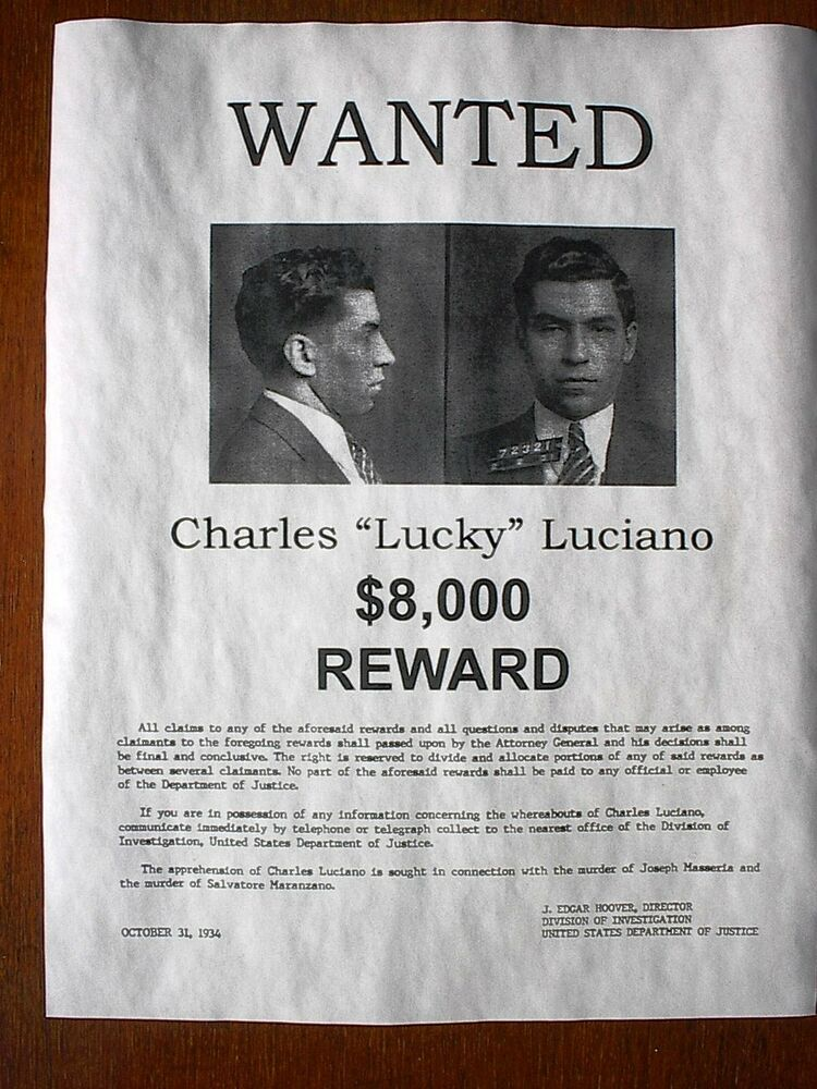 Luciano Lucky Wanted Poster