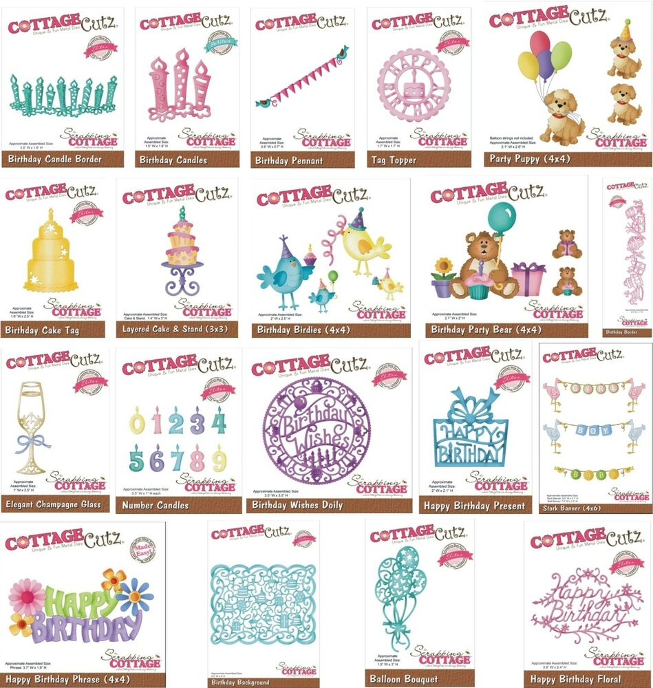 COTTAGE CUTZ BIRTHDAY DIES CANDLES CAKE TAGS BACKGROUND