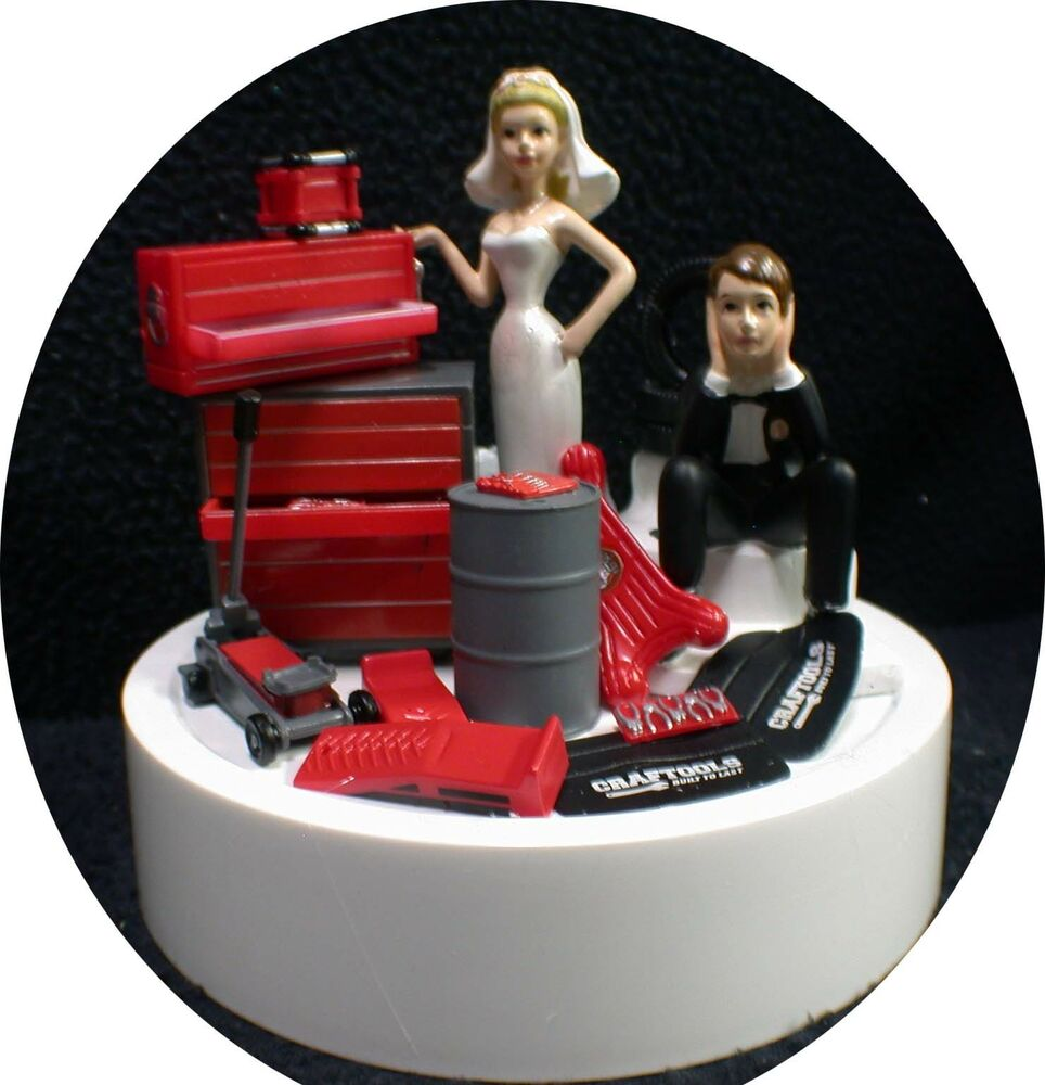 Car AUTO MECHANIC Wedding Cake Topper Key Bride Groom Top