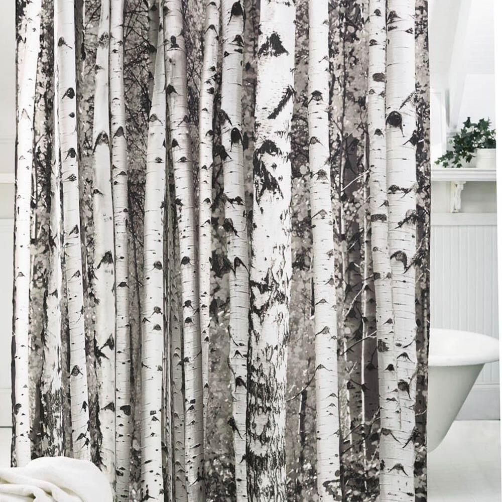 Birch Wood Tree Design Shower Curtain Hunting Outdoors