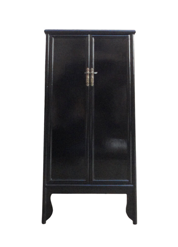Chinese Oriental Black Lacquer Tall Armoires Cabinet