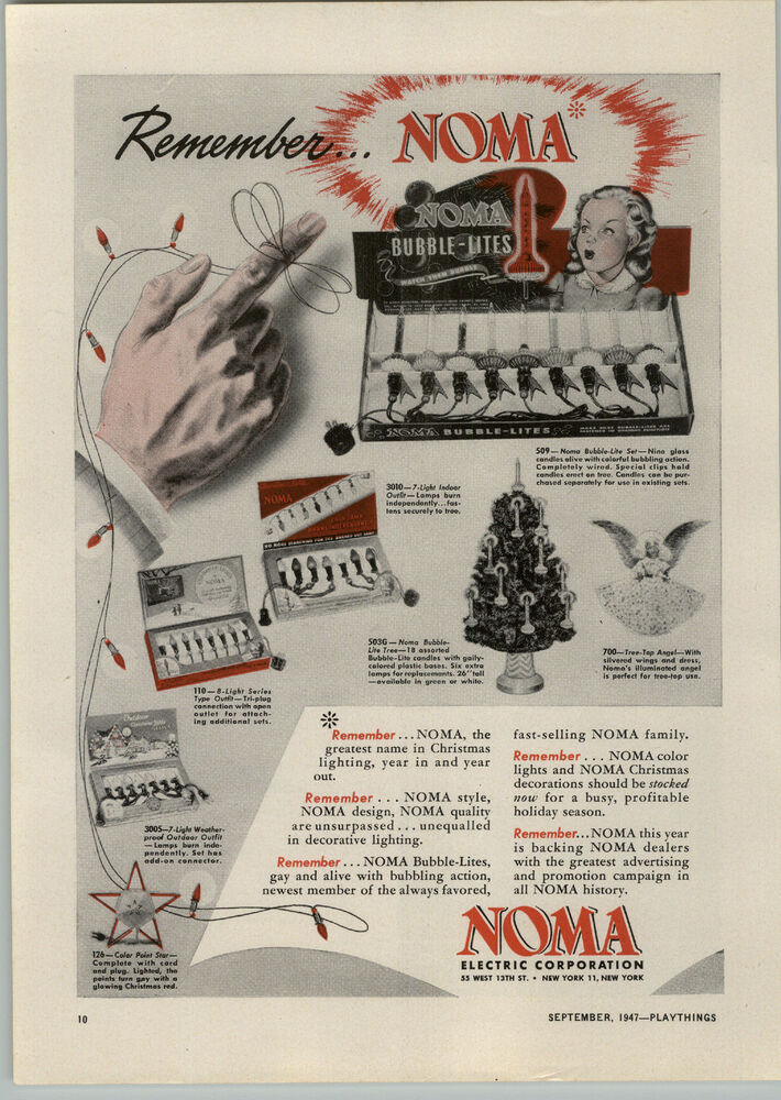 1947 PAPER AD Noma Christmas Tree Lights Bubble Lites Top
