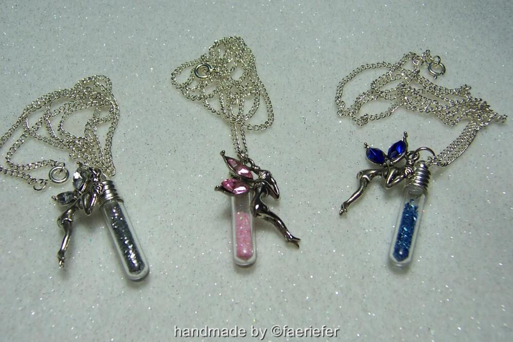 Fairy Dust Vial And Fairy Crystal Pendant Silver Plated Necklace Wishes Gift EBay