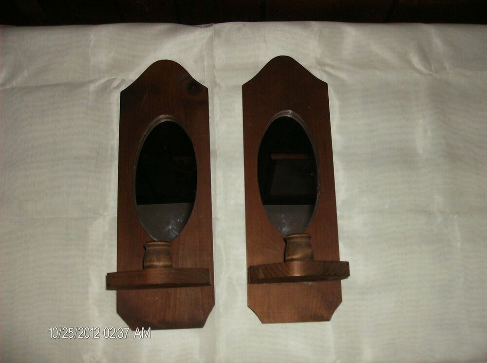 Wall Sconces Wood Oval Mirror Candle Holders