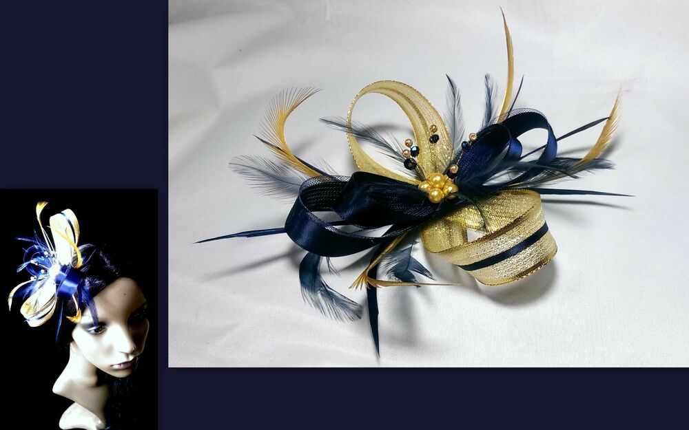Navy Blue And Sparkling Gold Fascinator On Comb Alice