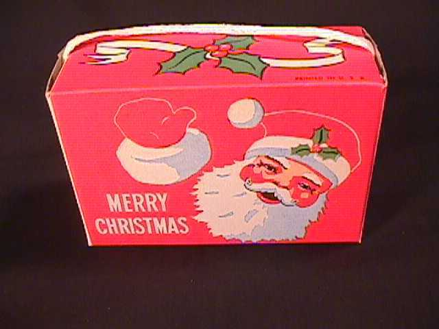 Vintage Cardboard Christmas Candy Box With Jolly Santa