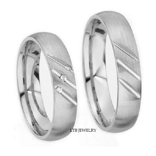 18K WHITE GOLD MATCHING HIS Amp HERS WEDDING BANDS RINGS