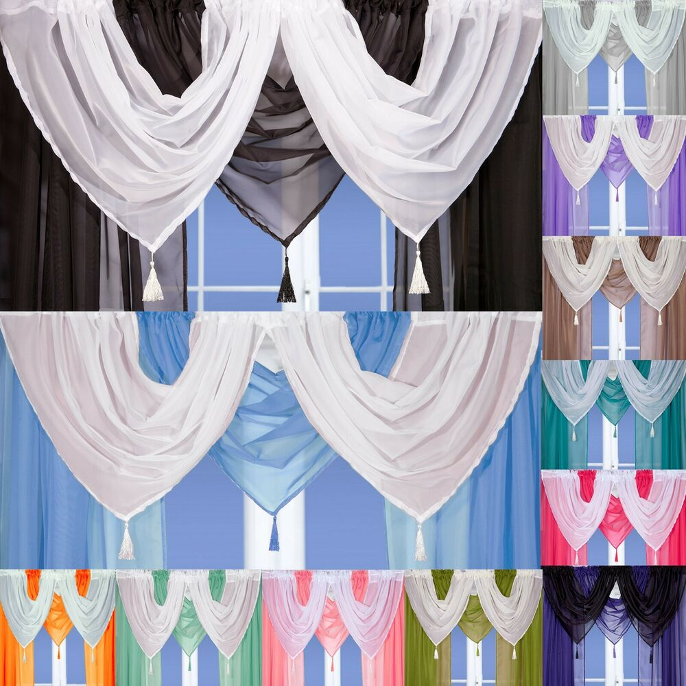 Tassled Voile Curtain Swags All Colours Pelmet Valance Net Curtains Voile Swag EBay