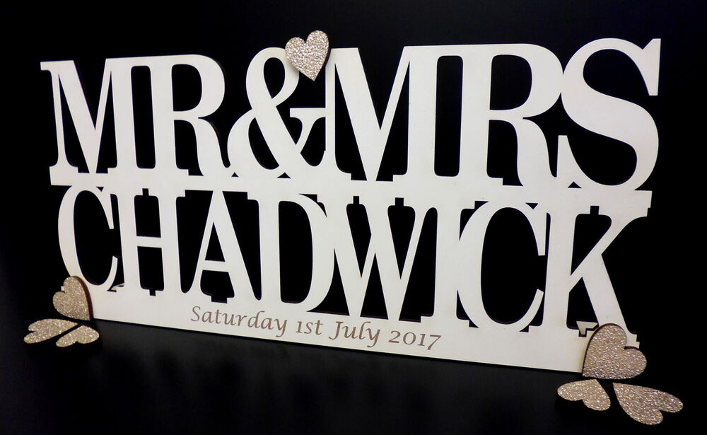 Personalised Mr & Mrs Sign Freestanding Top Table Wedding