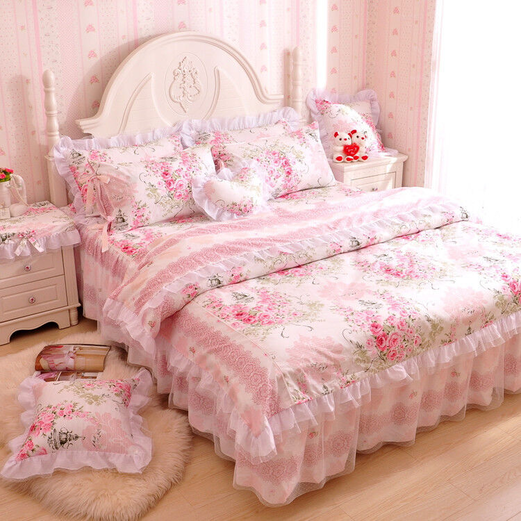 LightPink And White Girls Lace Ruffle Bowtie Tulle Duvet