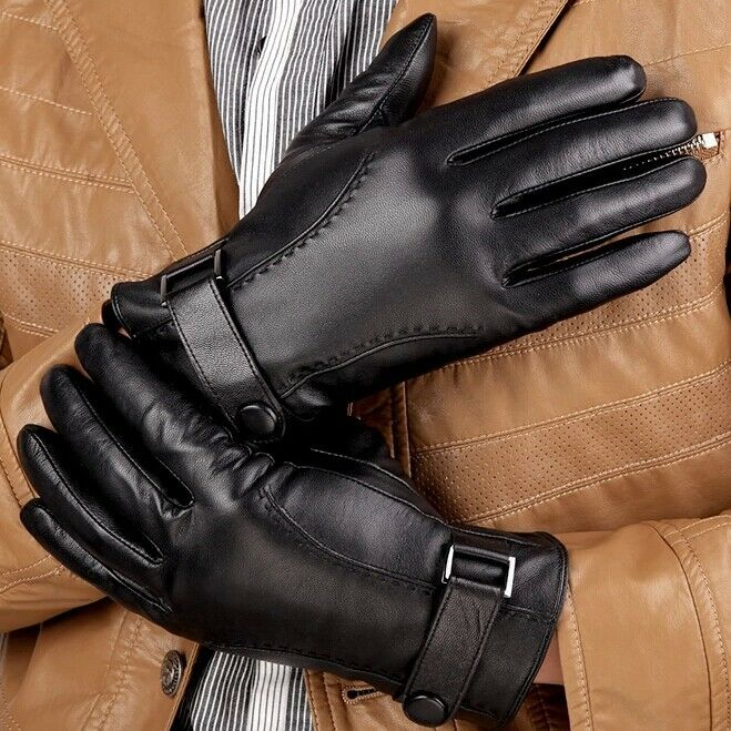 Black Leather Dress Gloves Mens