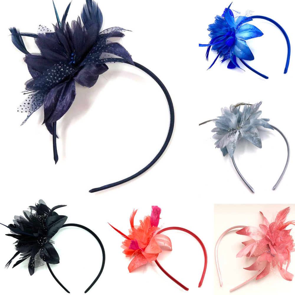 Feather Aliceband Fascinator Headband Weddings Ladies Day