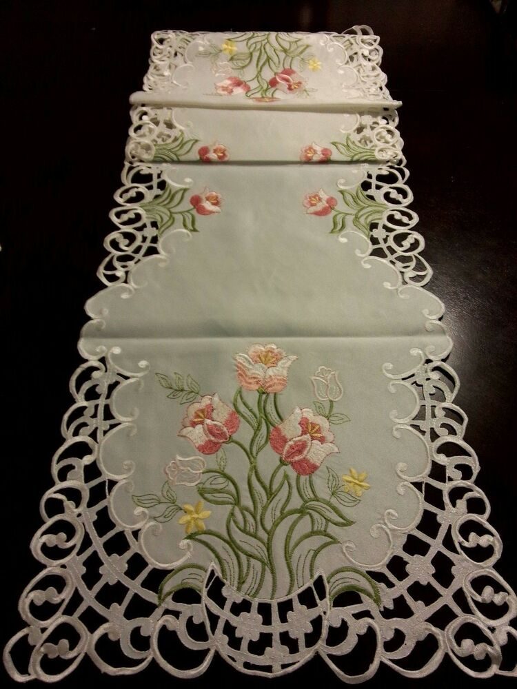 15x69Embroidered Table Runner Pink Tulip Floral Cutwork Tablecloth Home Decor EBay
