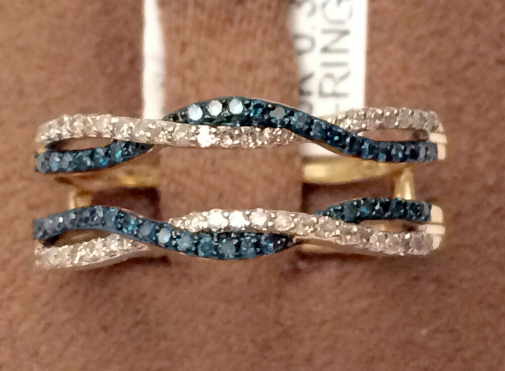 Yellow Gold Wave Design Solitaire Enhancer Blue Diamonds