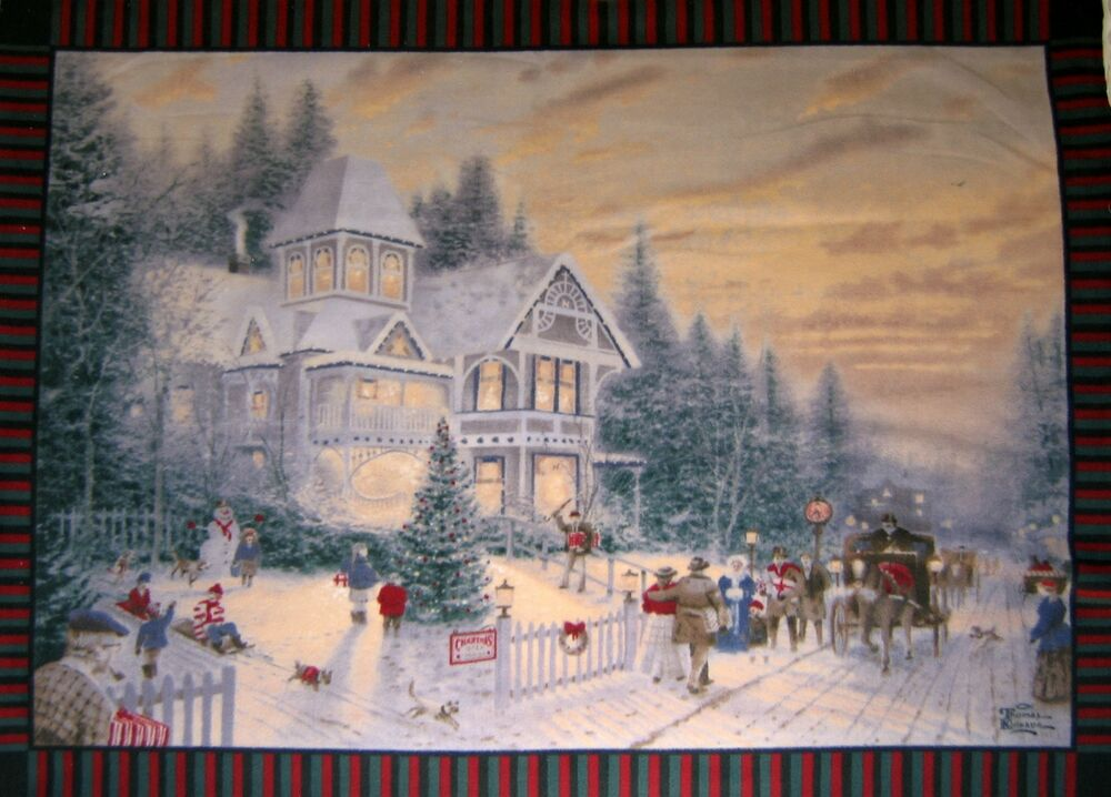 Fleece Fabric Thomas Kinkade Victorian Christmas Anti
