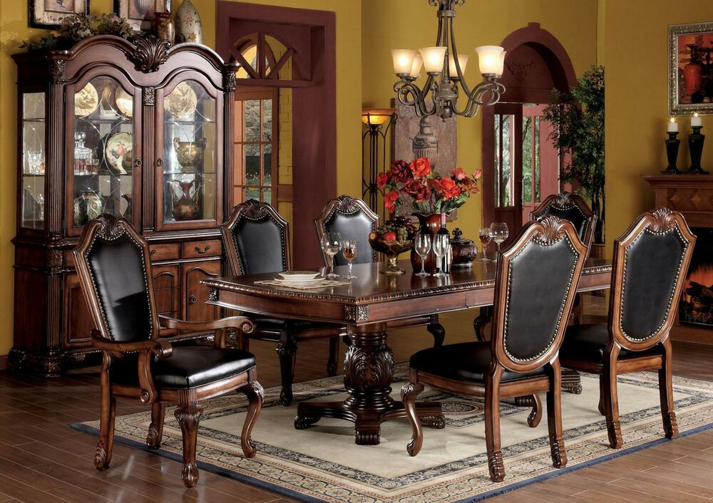 Modern Traditional Style Cherry Dining Room Table 2xArm