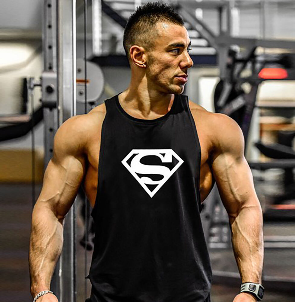 Gym Mens Superman Bodybuilding Tank Tops Clothing Fitness Sleeveless Muscle Fit Ebay